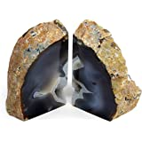 Genuine Brazilian Extra Quality Agate Bookends - Certified Mineral Guide Card Included. 2-3 lbs (Natural)