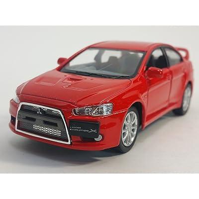 Kinsmart Red 2008 Mitsubishi Lancer Evo Evolution X 1/36 Scale Diecast Car: Toys & Games