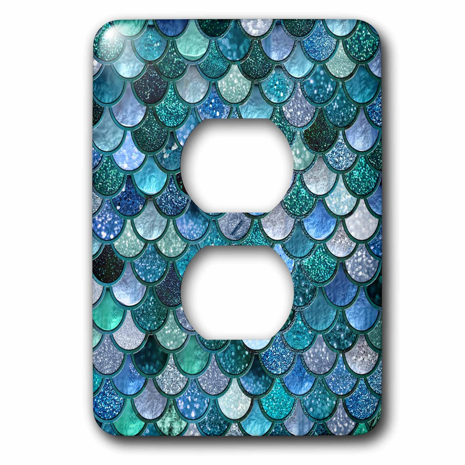 3dRose LSP_272861_6 Multicolor Girly Trend Blue Luxury Elegant Mermaid Scales Glitter Plug Outlet Cover