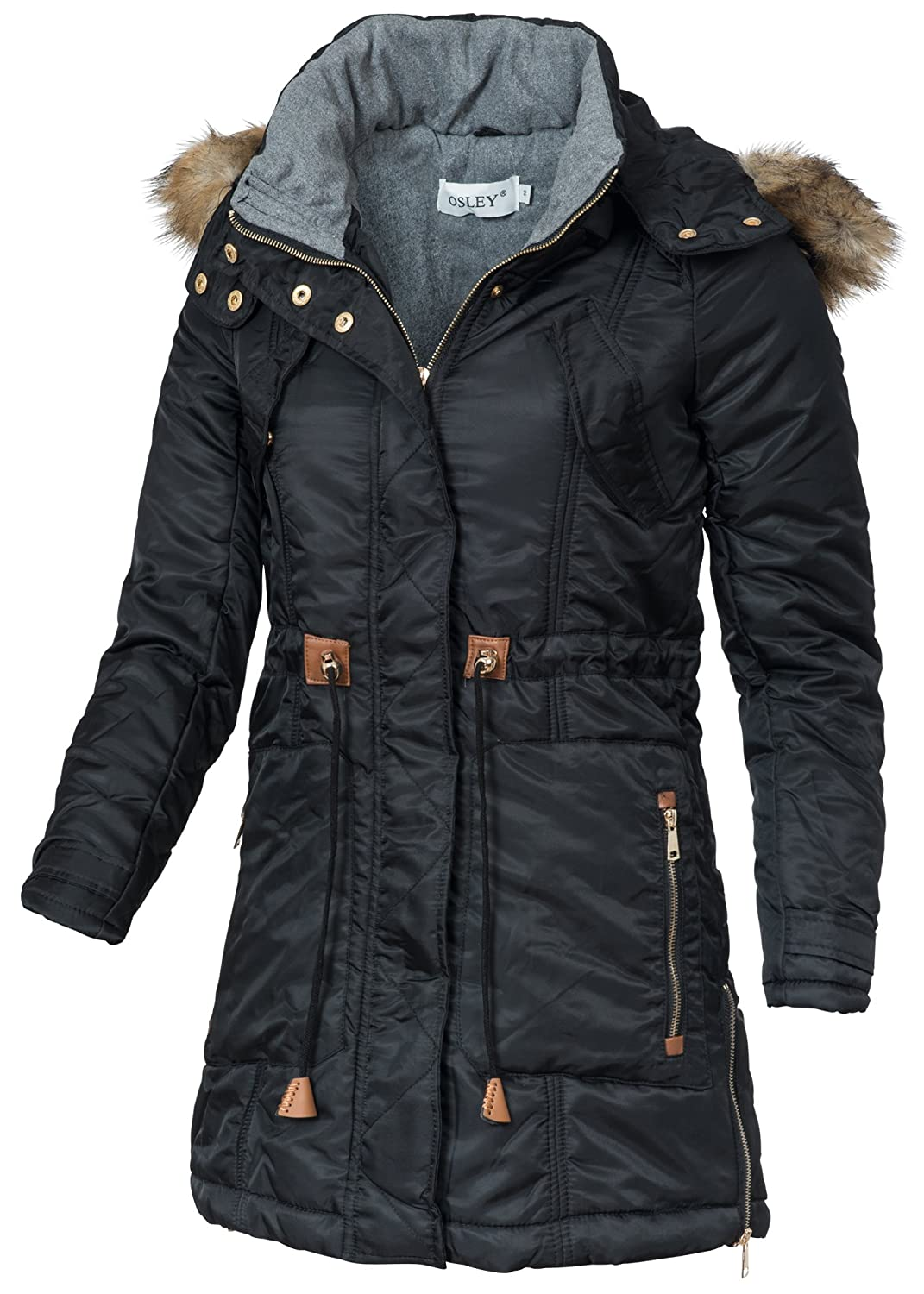 in vogue Damen Wintermantel IV065, warmer Mantel mit Kordelzug, Kapuze & Webpelz, schwarz