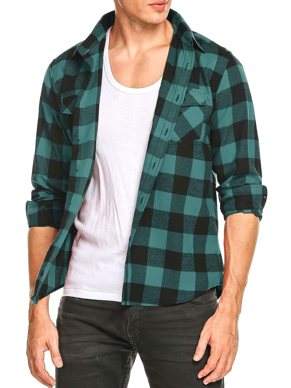 DAIKEN Mens Flannel Shirt Long Sleeve Button Down Fleece Plaid Shirts Slim fit