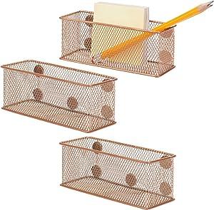 MyGift Antique Gold Tone Metal Mesh Magnetic Storage Bins, Office Supply Rectangular Organizer Baskets, Set of 3