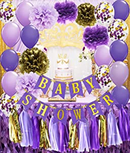Qian's Party Purple Gold Baby Shower Decorations Purple and Gold Princess Birthday Party Decorations Purple Princess Baby Shower Confetti Purple & Gold Party Decor
