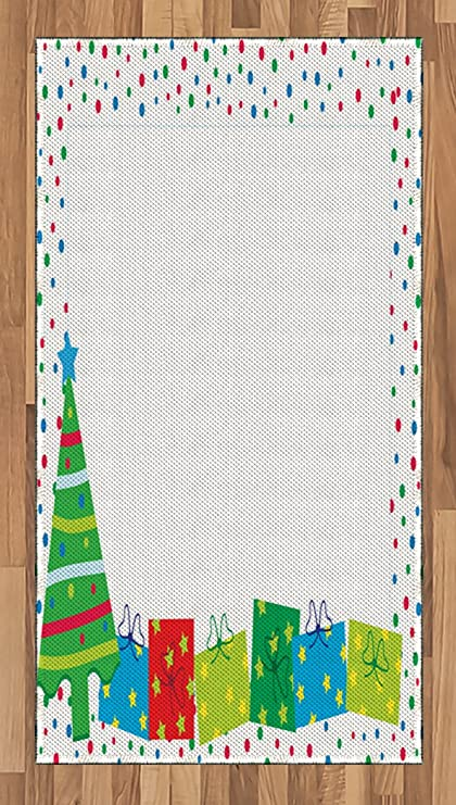 ambesonne kids party area rug happy christmas and new year theme pine tree surprise boxes
