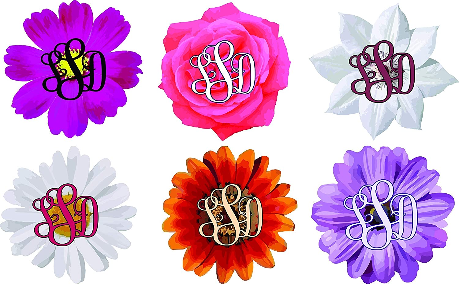 Fancy Flower monogram decal for Car, Cups, or electronics.
