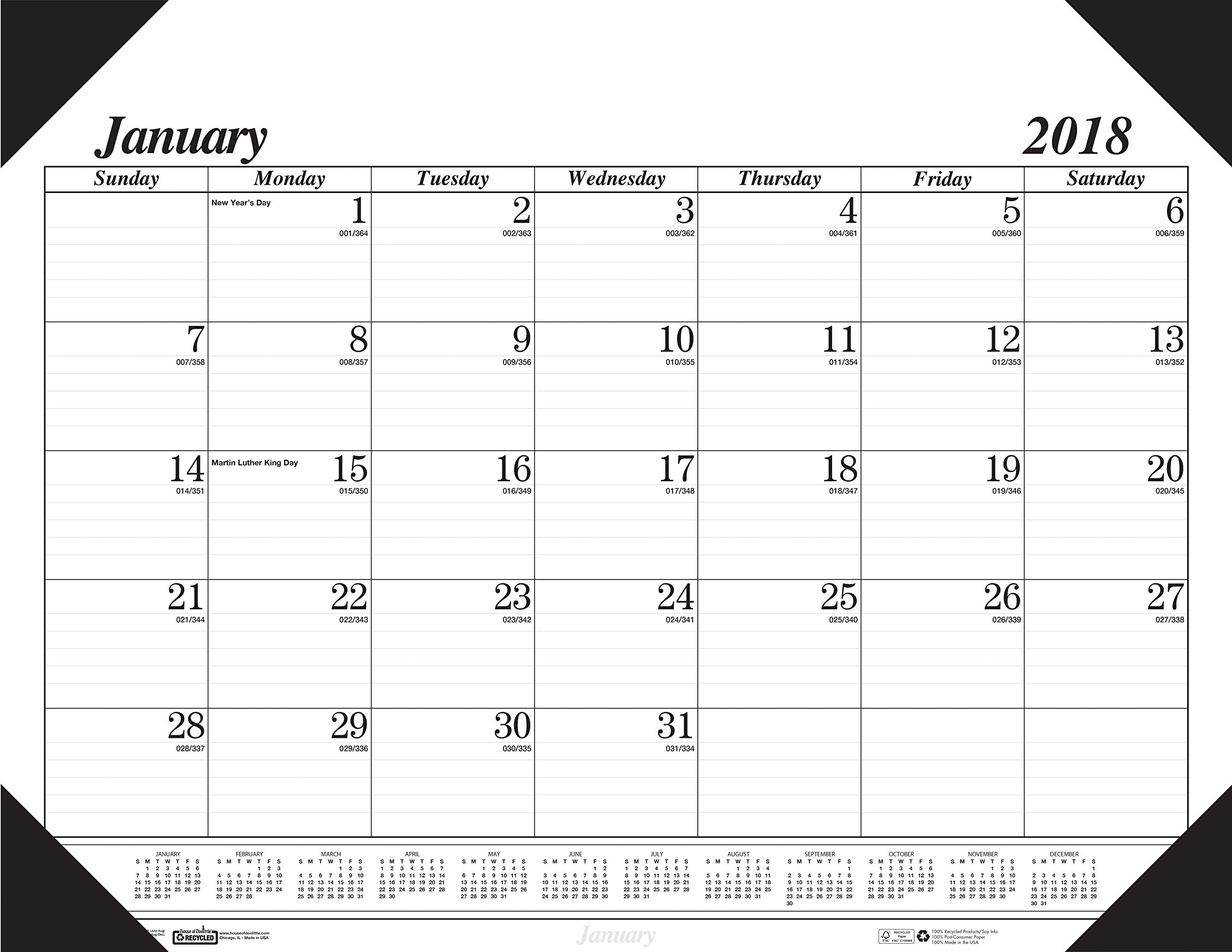 House of Doolittle 2018 Monthly Desk Pad Calendar, Economy, 22 x 17 Inches, January - December (HOD12402-18)