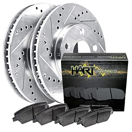 Frontier Front Rear Drill Slot Brake Rotors+Ceramic Pads For Nissan Xterra