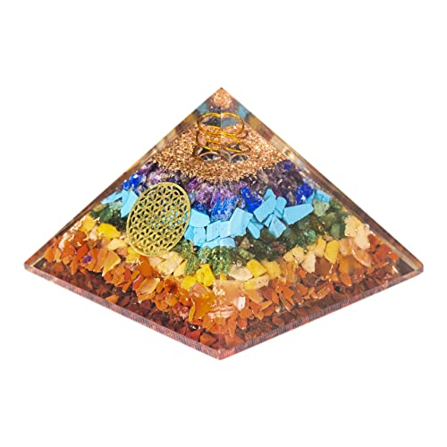 Pura Esprit Crystals and Healing Stones Orgone Pyramid EMF Protection Flower of Life 7 Chakra Stones Orgone Energy Accumulator Healing Crystals Orgonite Pyramid for Anti-Anxiety Smudge Kit