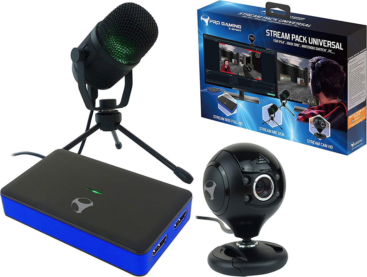 Subsonic - Stream Pack accesorios para jugadores Con caja de captura de vídeo Full HD (PS4, PS4 Slim, PS4 Pro, Xbox One, Xbox One x, Nintendo Switch, PC): Amazon.es: Videojuegos