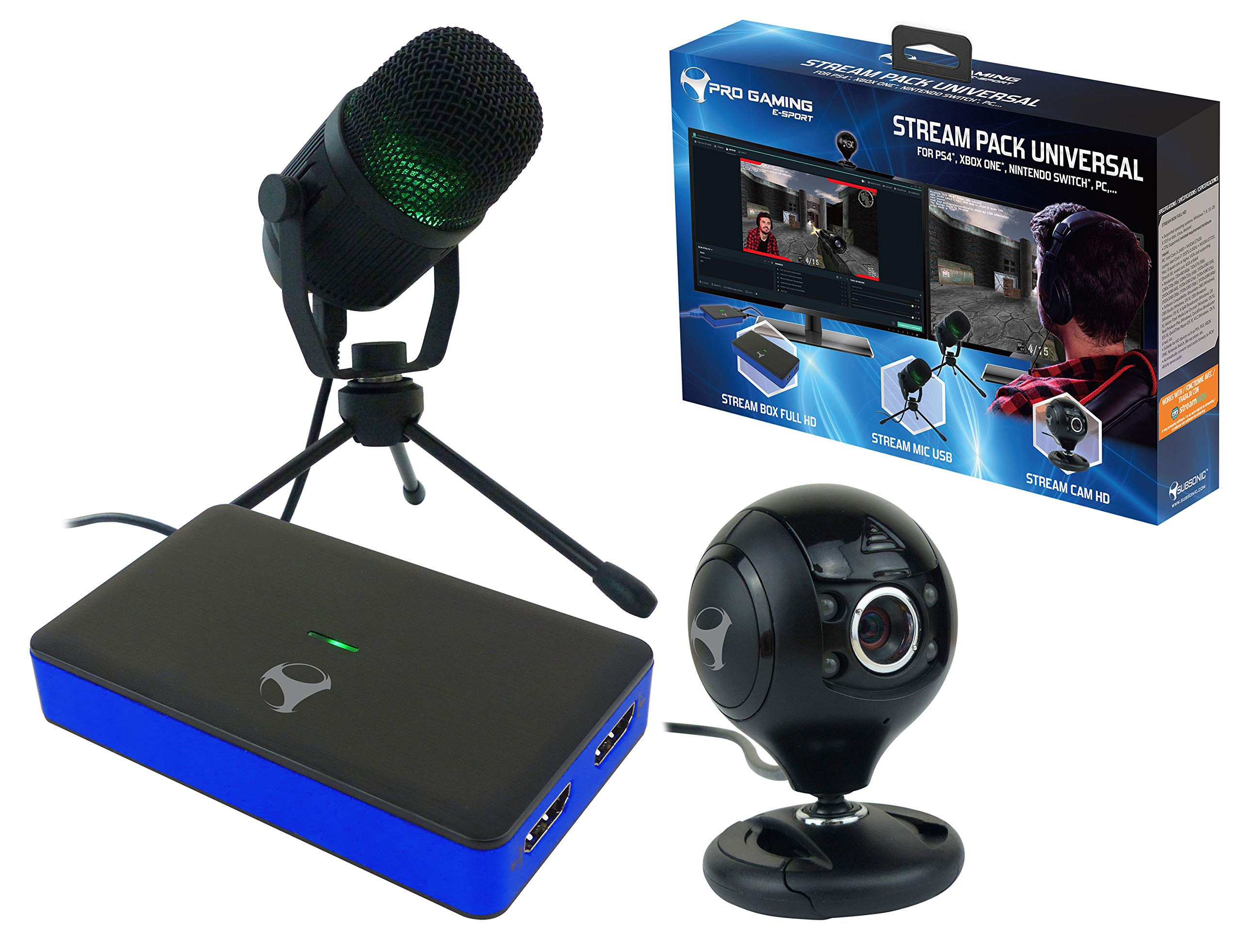 Subsonic – Stream Pack accessories for gamers and youtubers with Full HD video capture box, microphone and HD camera…