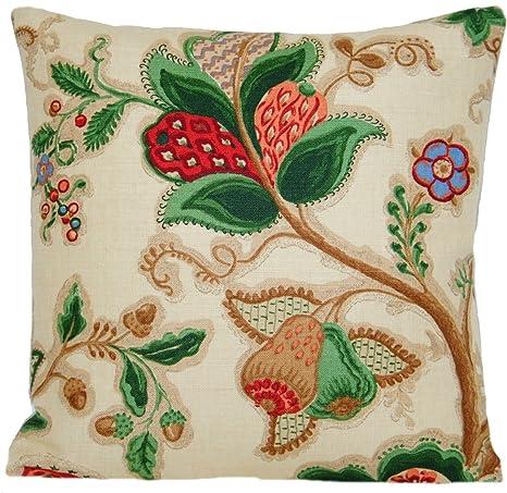 Funda para cojín diseño de peras Diseño de flores verdes ...