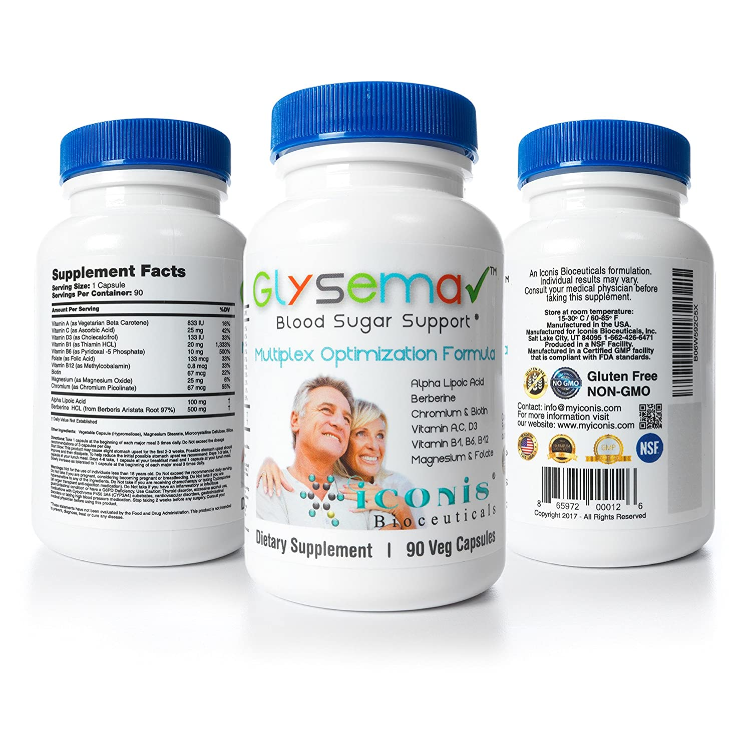 Amazon.com: Iconis Bioceuticals-Glysema, Blood Sugar Support, Berberine, Alpha Lipoic Acid,Chromium, Biotin, Thiamine: Health & Personal Care