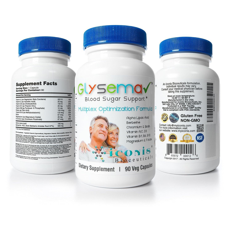 Amazon.com: Iconis Bioceuticals-Glysema, Blood Sugar Support, Berberine, Alpha Lipoic Acid,Chromium, Biotin, Thiamine: Health & Personal Care