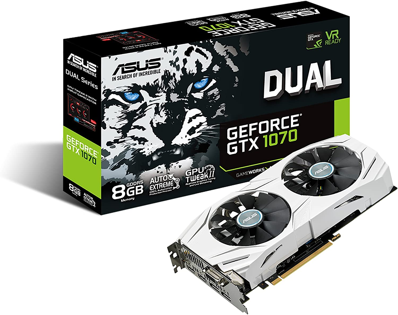 ASUS GeForce GTX 1070 8GB Dual-Fan Edition 4K/VR Ready Dual HDMI DP 1.4 Gaming Graphics Card (DUAL-GTX1070-8G)