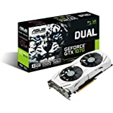 ASUS GeForce GTX 1070 8GB Dual-fan Edition 4K/VR Ready Dual HDMI DP 1.4 Gaming Graphics Card (DUAL-GTX1070-8G)