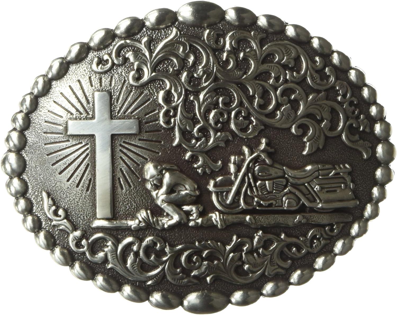 BIKER/'S PRAYER ~Silver Western Belt Buckle~ Motorcycle CROSS Praying Oval 37972