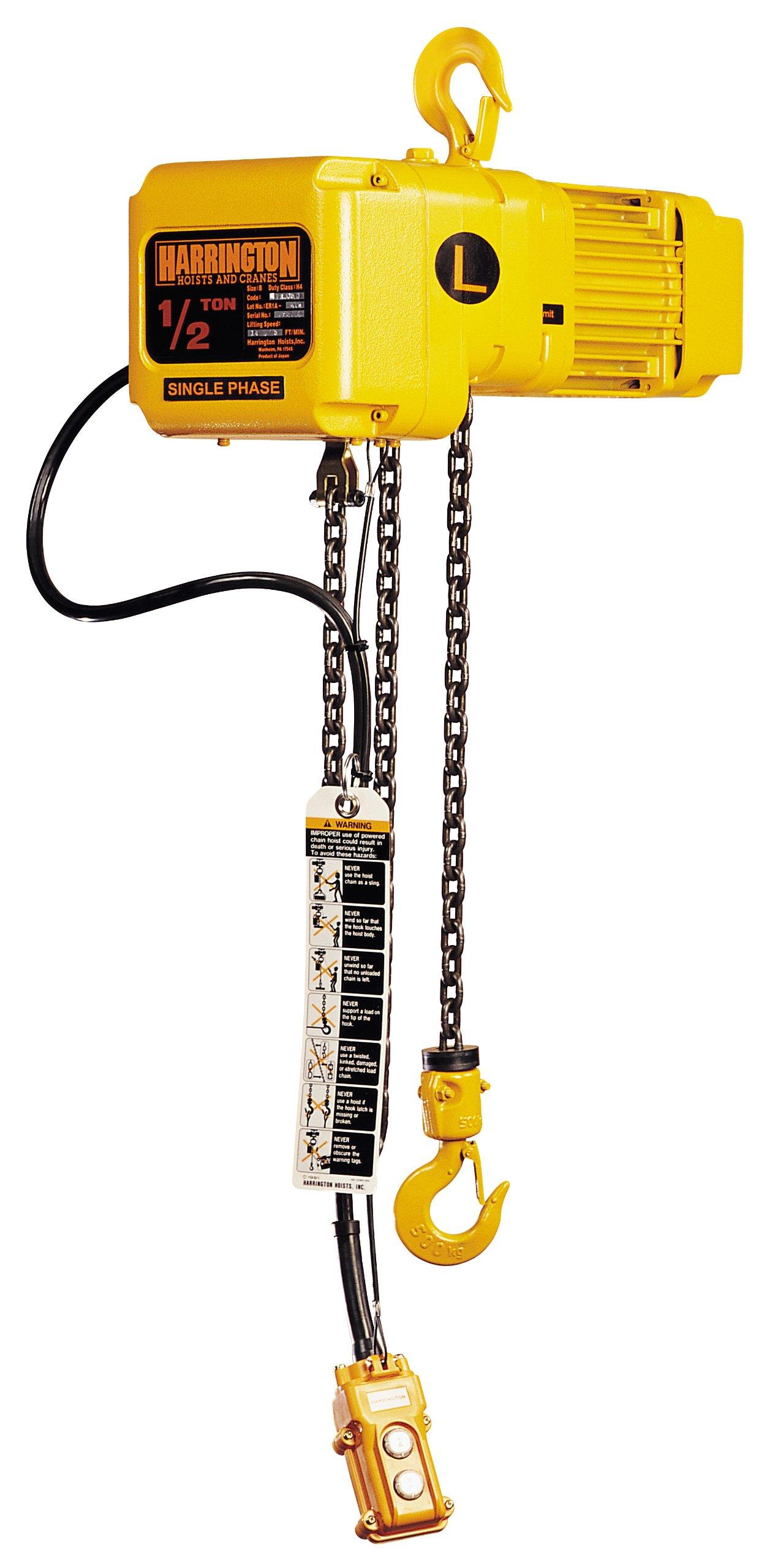 12.8 Headroom Harrington CF Hand Chain Hoist 1//2 Ton Capacity 1.1 Hook Opening 20/' Lift 12.8 Headroom 1.1 Hook Opening Harrington Hoists Inc Hook Mount 20 Lift