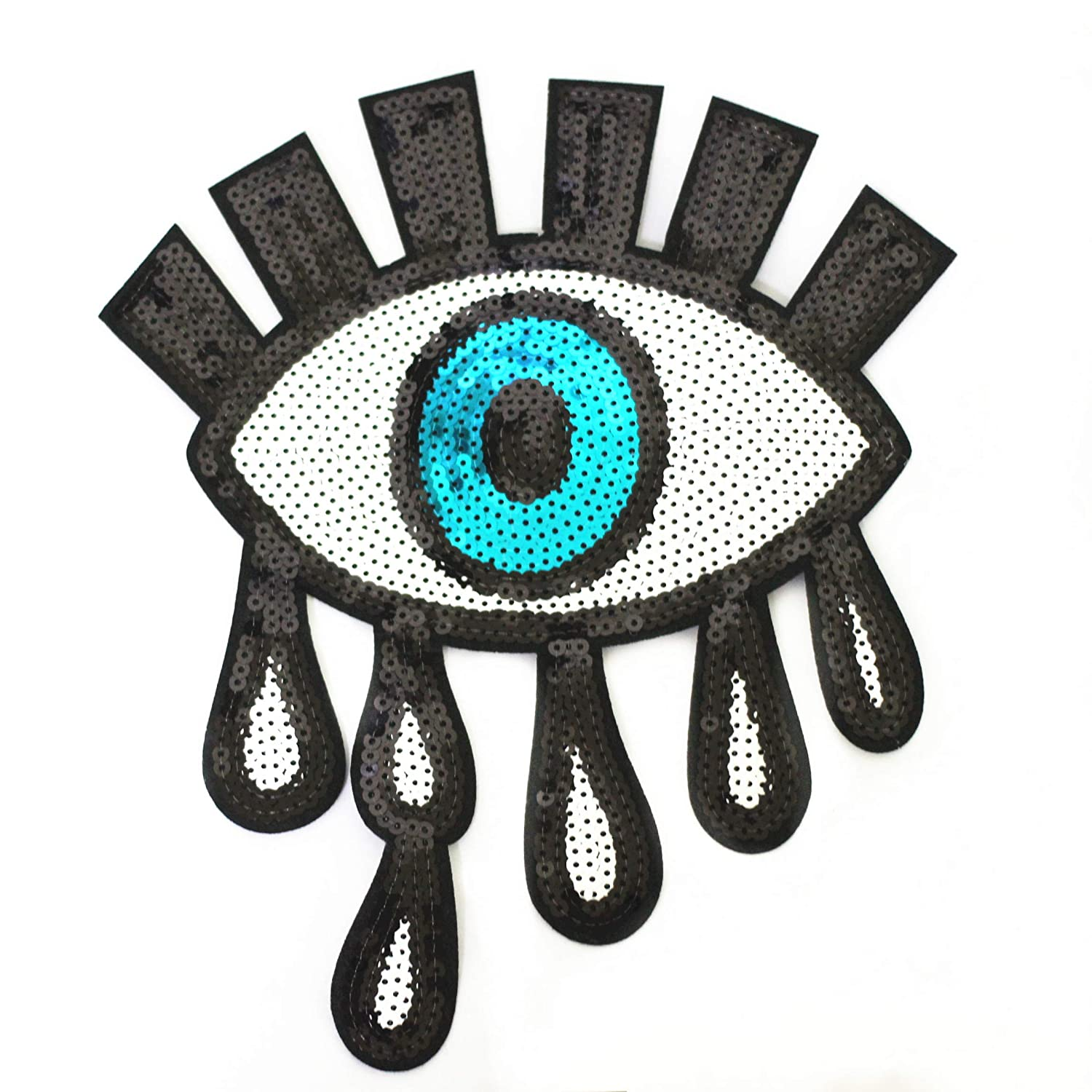 MIAO JIN 10 Pcs Blue Eyes Teardrop Patches Glitter Sequin Embroidered for Garment Accessory /& DIY Motif Embroidered Applique Craft