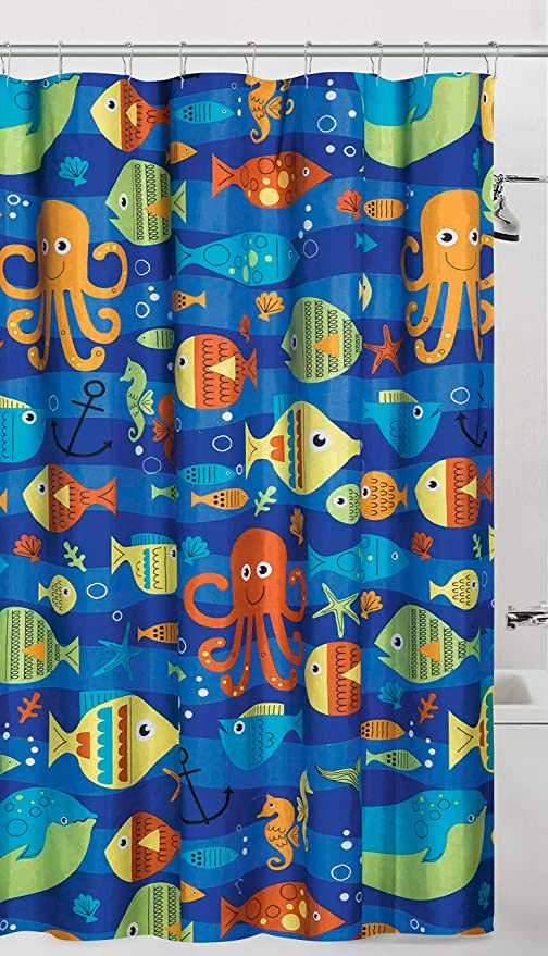 Image Unavailable Not Available For Color Unbranded Sealife Colorful Ocean Fish Fabric Shower Curtain