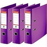 Esselte Lot de 3 Classeurs à Levier, pour l'Archivage, Couverture Plastique, A4, Dos 7,5cm, Violet, N°1 Power, 624282