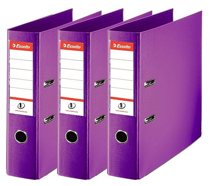 Esselte Clasificador - Archivador de anillas con palanca (50 mm, paquete de 3), color gris: Amazon.es: Oficina y papelería