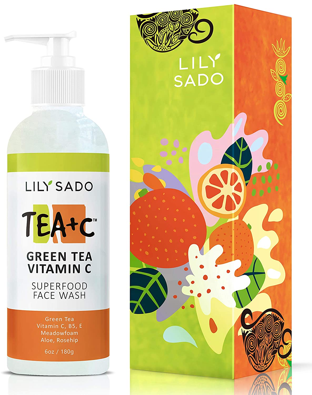 LILY SADO TEA+C Green Tea and Vitamin C Face Cleanser – Vegan Antioxidant Face Wash with Aloe + Rosehip + Meadowfoam - Gentle Deep Cleansing for Acne, Blackheads, Blemishes - For All Skin Types - 6 oz
