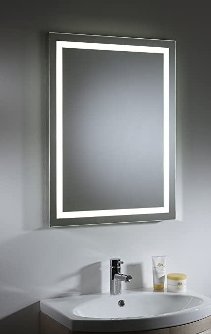 Pebble Grey Led Illuminated Bathroom Vanity Mirror With 3 Way Touch