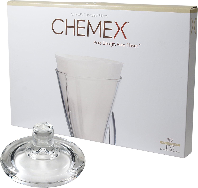 Chemex Cafetera de cristal tapa y 100 Count Bonded la mitad ...