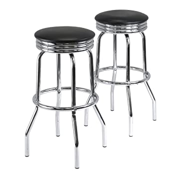 Winsome Wood Summit Swivel Bar Stools with Metal Legs Black Faux Leather Seat Set  sc 1 st  Amazon.com & Amazon.com: Winsome Wood Summit Swivel Bar Stools with Metal Legs ... islam-shia.org