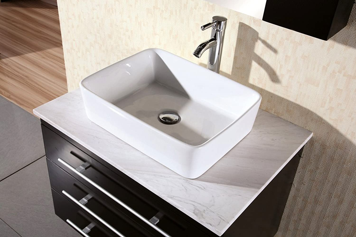 sink on top of vanity. Design Element Elton Wall Mount Single Vessel Sink Vanity with Carrera  White Marble Countertop 30 Inch Amazon com
