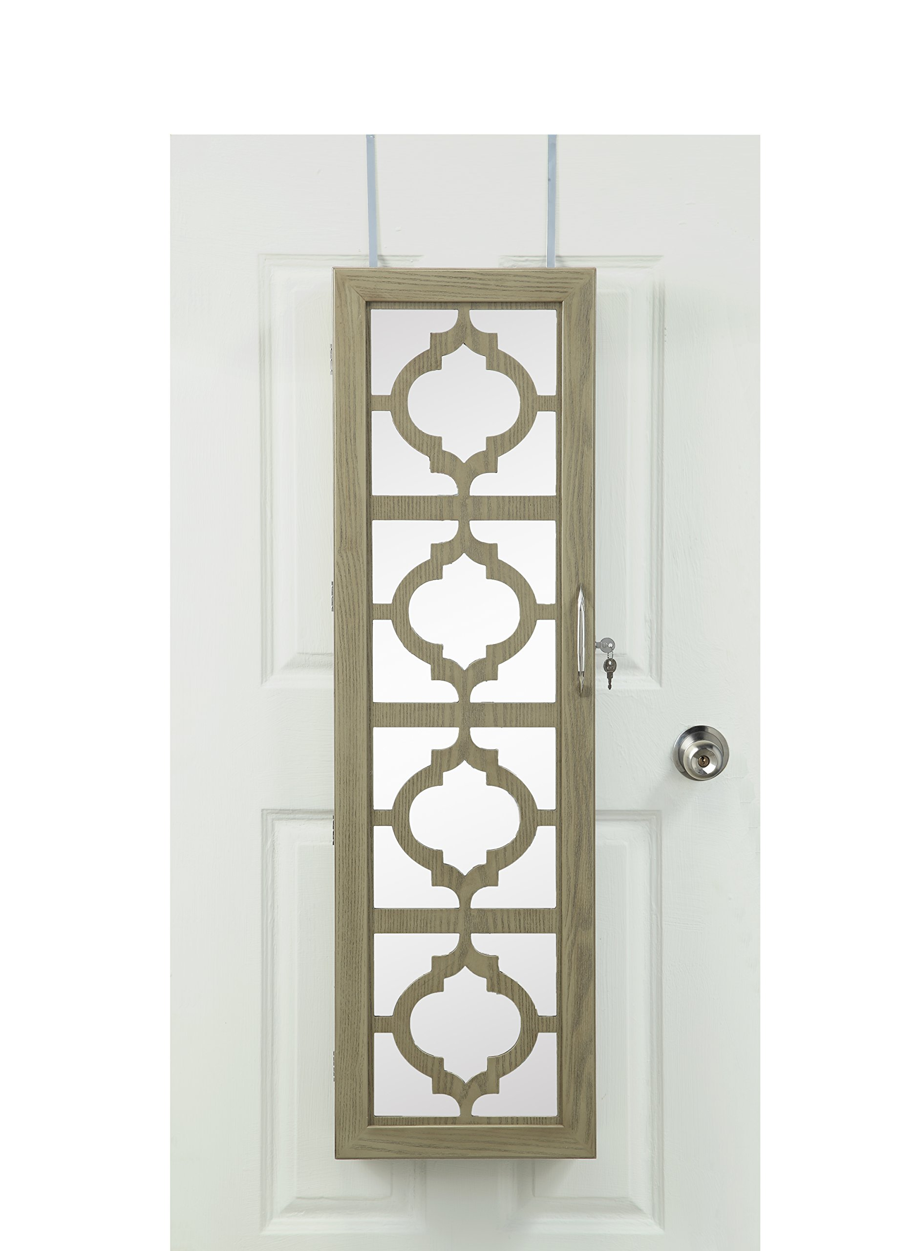 Lockable Wall Mounted Over the Door Jewelry Organizer Armoire Cabinet with Mirror Design Front and LED Lights by Abington Lane by Abington Lane (Image #5)