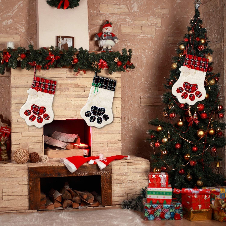Sugaroom Personalized Christmas Stockings Cat Dog Stockings Christmas Plaid Large Paw Hanging Christmas Stocking for Dogs Pets Christmas Decorations Xmas Holiday Season Decor 3 Pack