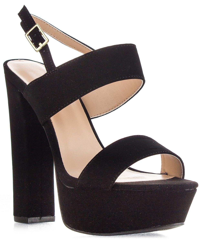 40644243ed794 Qupid Beat-44 Women's Open Toe Ankle Strap Chunky Heel Slingback Platform  Pump Sandals