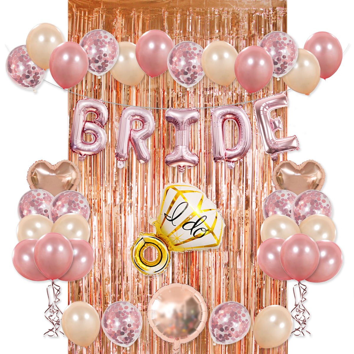 Bride Party Decorations Kit- Rose Gold Foil Fringe Curtain, 20 Latex Balloons, 10 Confetti Balloon, Bride and Ring Heart Round Mylar Balloons for Bachelorette Bridal Shower Party Supplies by Haptda