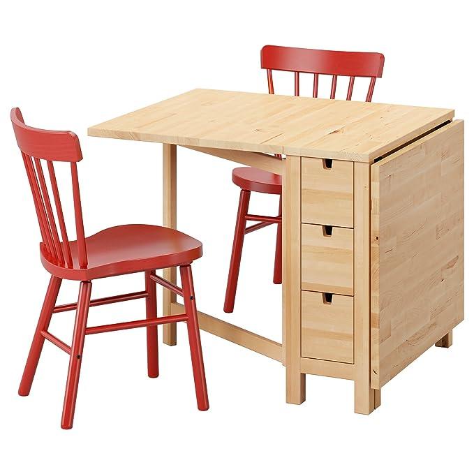 Ikea Norden Tisch Buche.Amazon De Ikea Norden Norraryd Tisch Und 2 Stühle Birke Rot