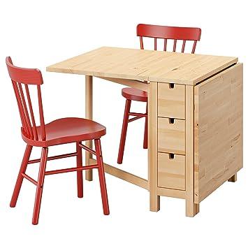 Amazon De Ikea Norden Norraryd Tisch Und 2 Stuhle Birke Rot