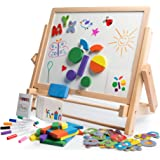 Double-Sided Tabletop Art Easel 80pc Activity Set for Kids - Magnetic Whiteboard & Chalkboard w /Dry Erase Markers, Alphabet Phonic Letters, and Shapes