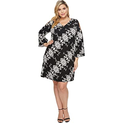 Adrianna Papell Plus Size Cold Shoulder Shift Dress Black/Ivory 20W at Women's Clothing store