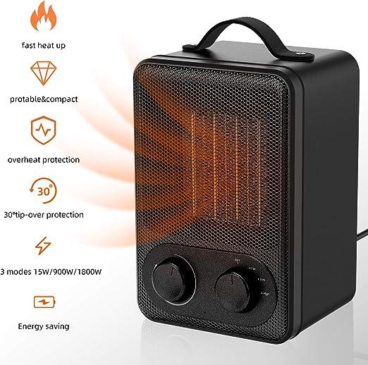 Calefactor Eléctrico Portátil Calentador 1800W / 900W Calefactor ...