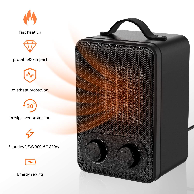 Uverbon Mini Calentador de Ventilador 1800W / 900W - Calentador de Espacio de Cerámica y Bajo Consumo de Energía con Protección contra Sobrecalentamiento y Volcado para Oficina, Hogar