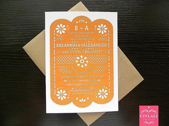 Amazon Com Papel Picado Engagement Invitations Set Of 10 Bridal