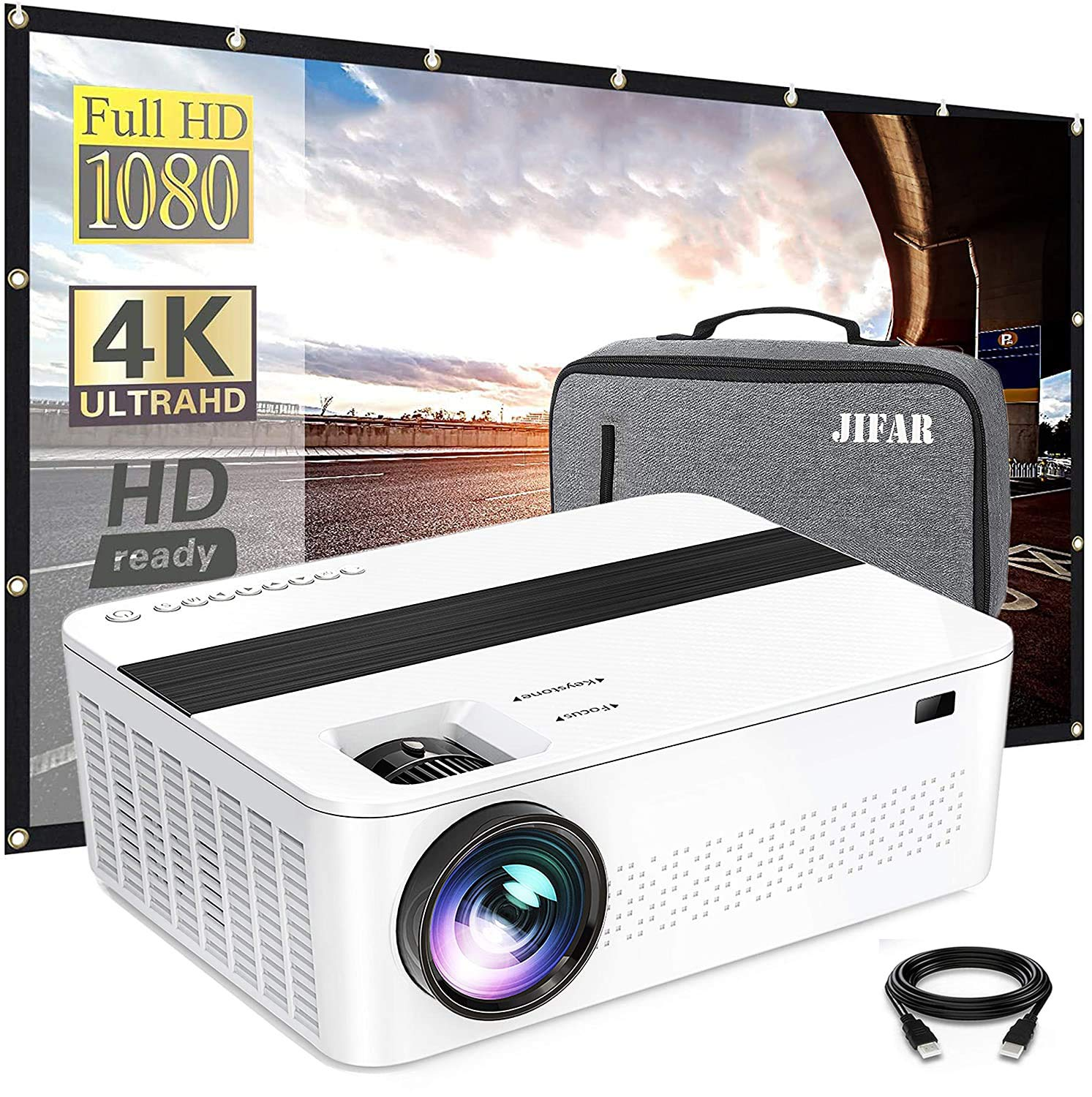 """Bluetooth Native 1080p Projector with a Bag,9000 Lux 4k Projector for Outdoor Movies with 450""""Display,Support Dolby & Zoom,Compatible with TV Stick,HDMI,VGA.USB,Smartphone,PC"""