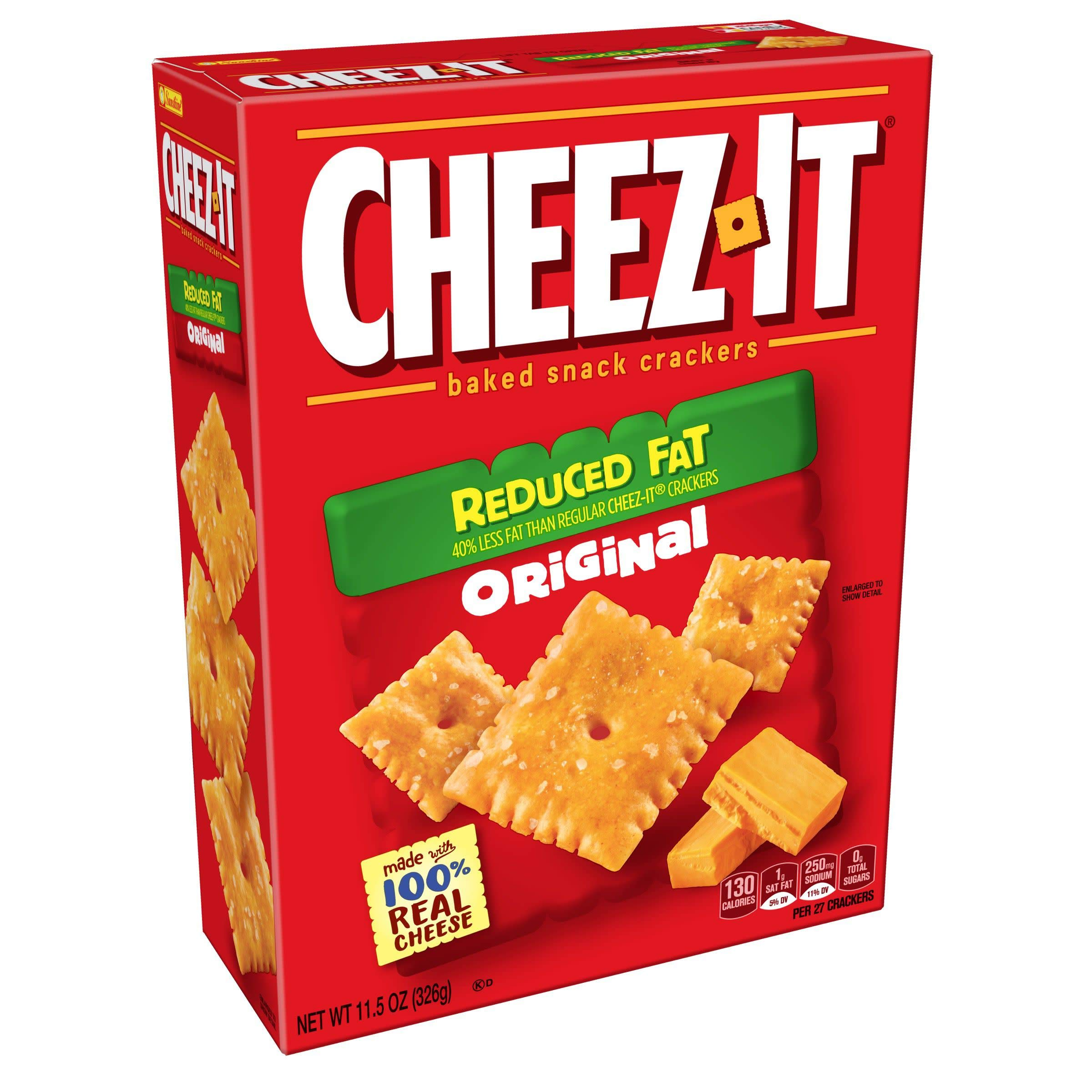 Cheez-It, Baked Snack Cheese Crackers, Reduced Fat, Original, 11.5oz(Pack of 4)