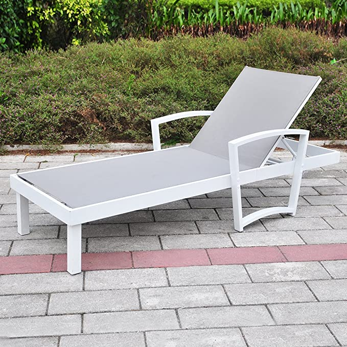 Outdoor Patio Reclining Chaise Lounge Chair Adjustable Textline Lounger Furniture With Rust Resistant Aluminum Frame Aluminum Kitchen Dining
