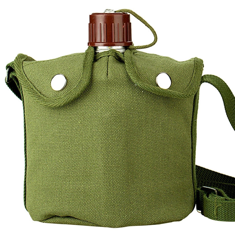 ZGBZZ Im Freien kampierender beweglicher Kessel: Armee-Grün-Außentasche + Aluminiumkessel + Aluminiumbrotdose