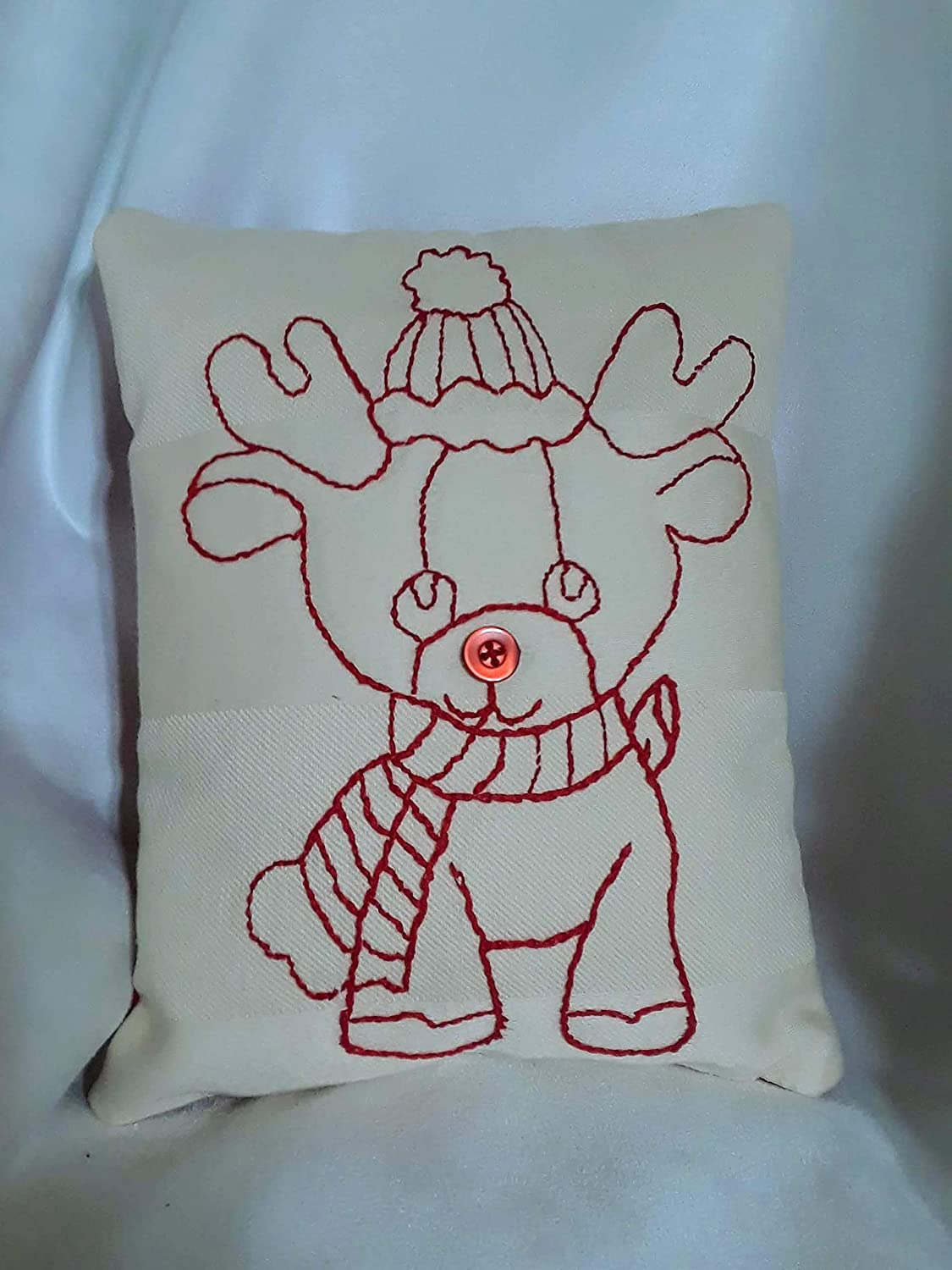 Amazon.com: Vintage Style Redwork Embroidery Miniature Pillow Cushion with  Rudolph the Red Nose Reindeer: Handmade