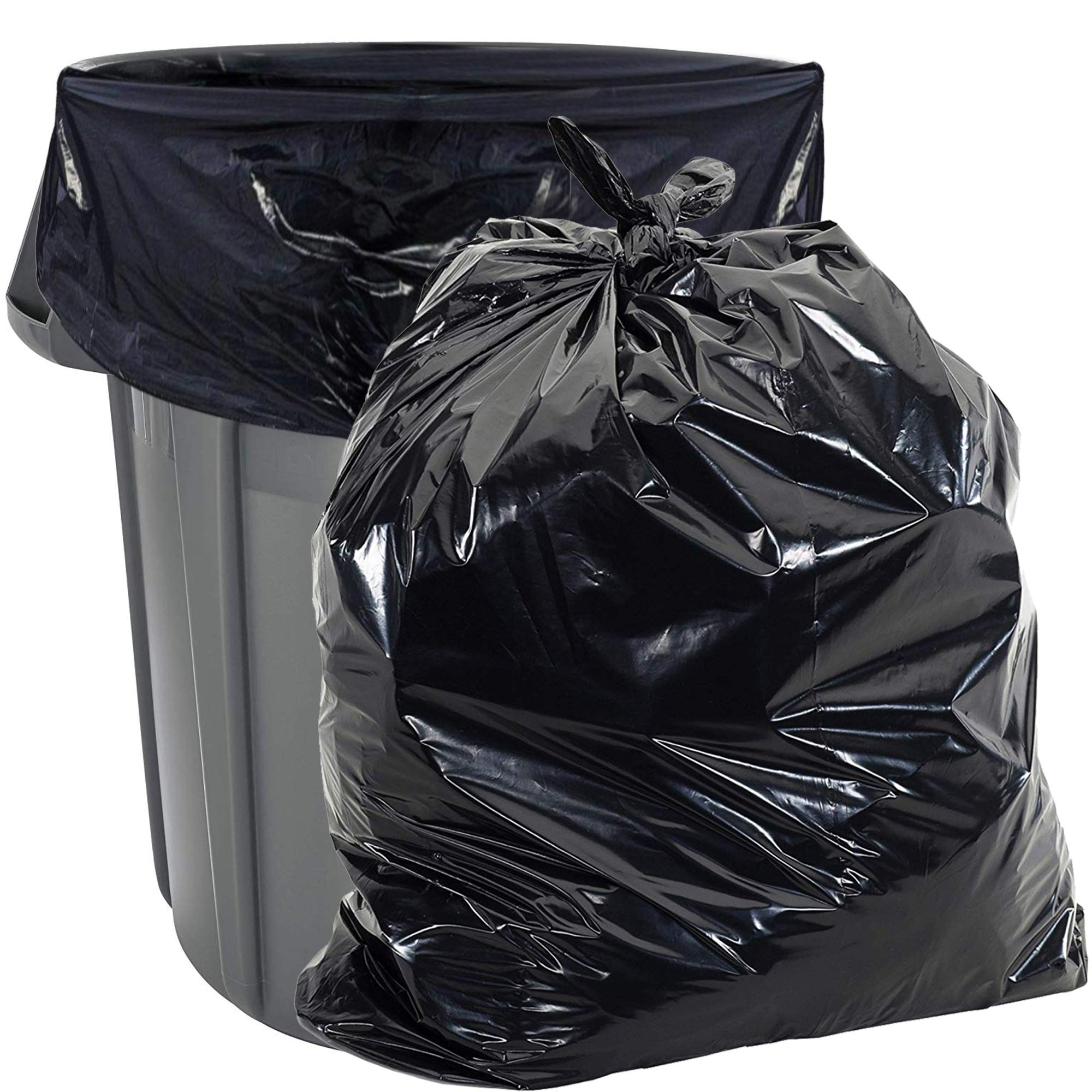 55 Gallon Trash Bags Heavy Duty - (Huge 100 Pack) - 2.0 MIL Thick - 38'' x 58'' - Garbage Bags for Toter, Contractors, Lawn, Leaf, Yard Waste, Commercial, Kitchen, Industrial, Construction, Garage