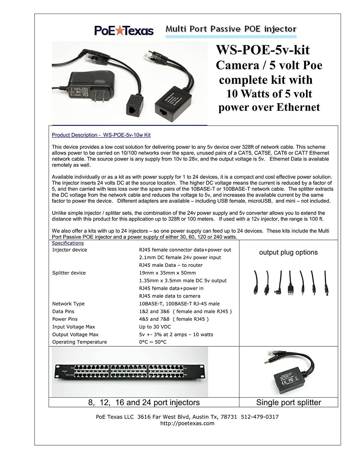 Ws Poe 5v 4x 5 Volt Power Over Ethernet Kit For 4 Electronic Kits Injector Cameras With 2 Amps Each Extend To 328 Ft Computers Accessories