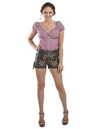 857fe36807cd5 Damen Paulina Vintage Lederhose kurz mit Trachtengürtel ...