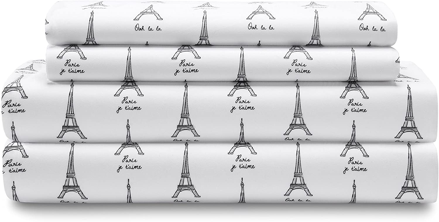 Elite Home Products Microfiber 90 GSM Whimsical Printed Deep-Pocketed Sheet Set, Full, White Paris